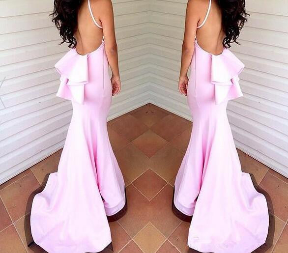 Pink Mermaid Prom Dress,Backless Prom Dresses,Evening Dresses