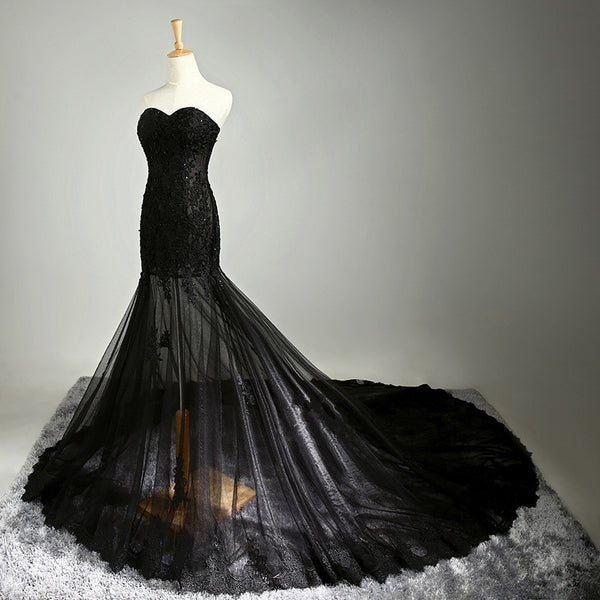 Sweetheart Black Prom Dress,Mermaid Prom Dresses,Evening Dresses
