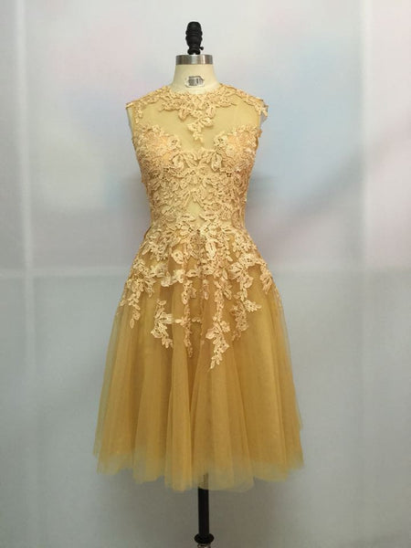 Yellow Lace Homecoming Dress,Backless Sleevesless Homecoming Dress,Homecoming Dresses