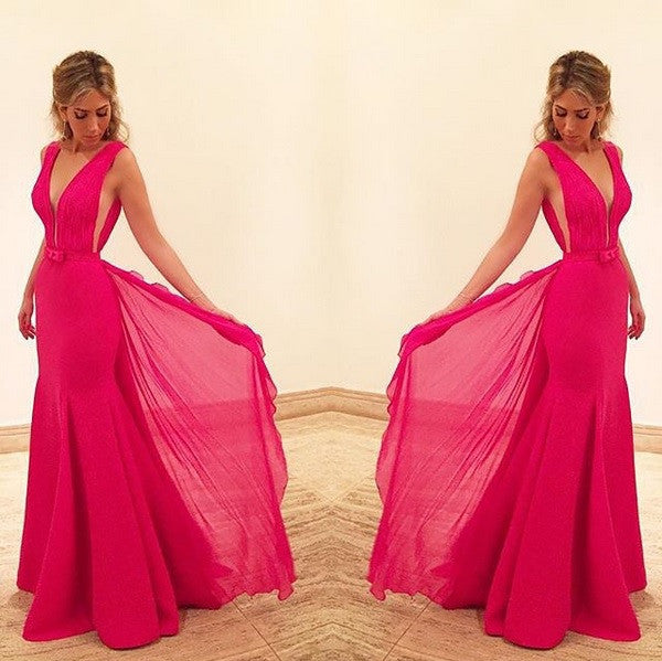 Sexy V-Neck Prom Dress,Hot Pink Prom Dresses,Evening Dresses