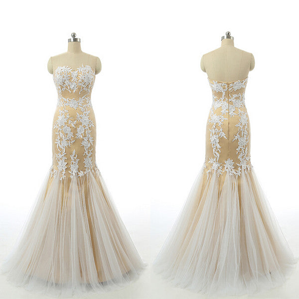 Mermaid Champagne Prom Dress,Long Prom Dresses,Evening Dresses