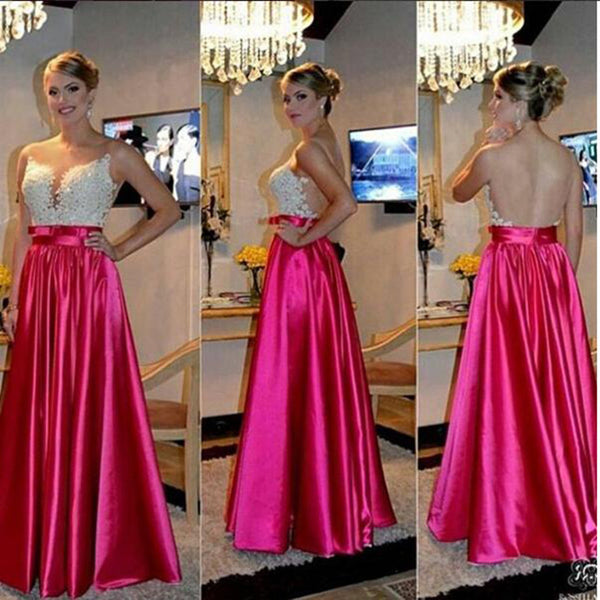 See Through Back Prom Dresses,Satin Prom Dress,Evening Dresses