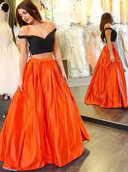 Off Shoulder Black Prom Dresses,Two Pieces Prom Dress,Evening Dresses