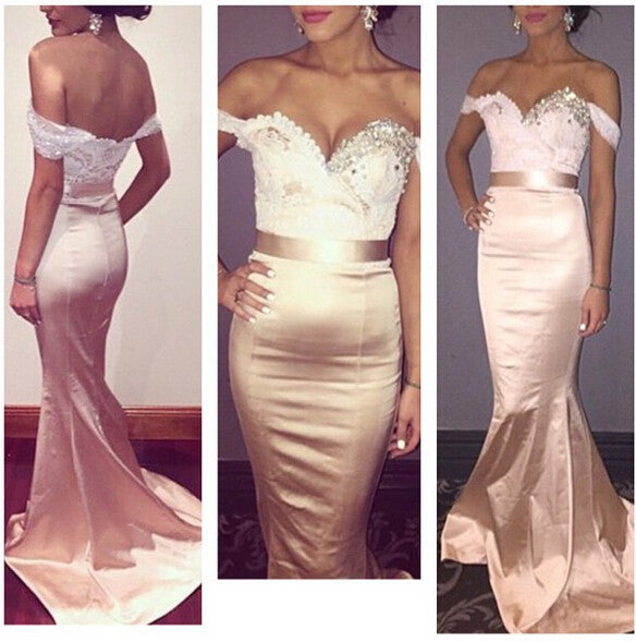 Pink Satin Prom Dress,Off Shoulder Prom Dresses,Evening Dresses
