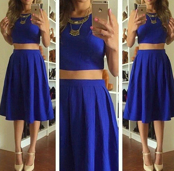 Knee-Length Cute Two-Piece Short Sleeveless Homecoming Dresses
