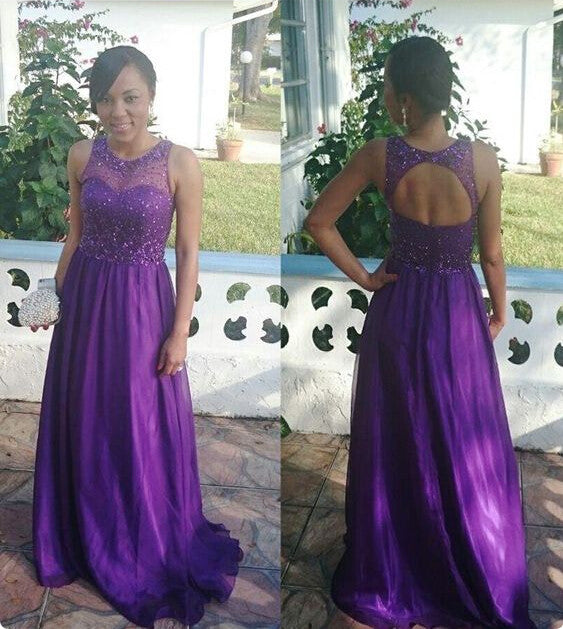 A-Line Prom Dresses,Purple Chiffon Prom Dress,Evening Dresses