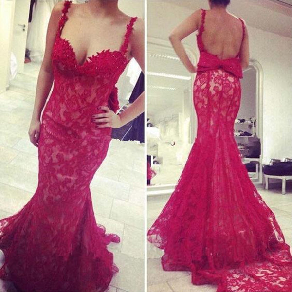 Mermaid Prom Dress,Red Lace Prom Dresses,Evening Dresses