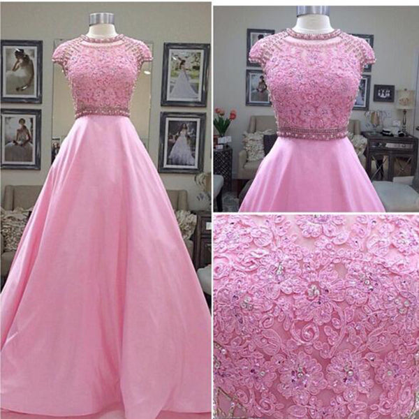Cap Sleeve Prom Dress,Pink Lace Prom Dresses,Evening Dresses