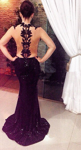 Black Mermaid Prom Dresses,See Through Prom Dress,Evening Dresses