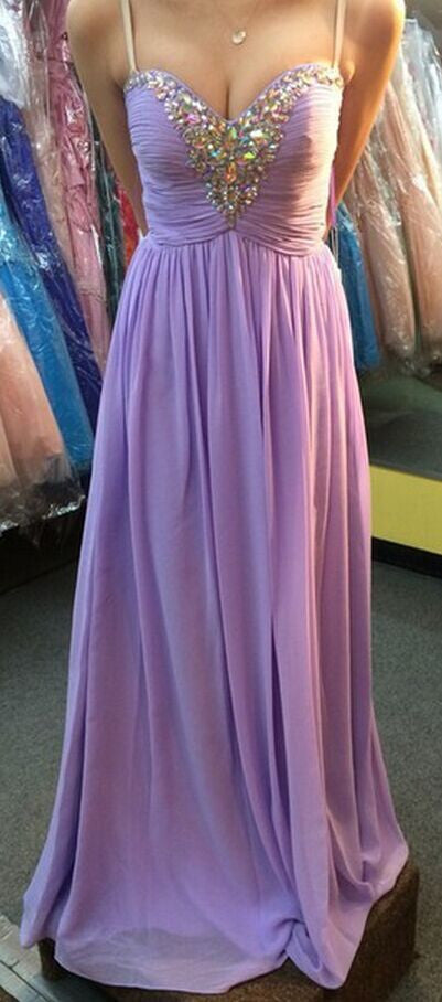 Spaghetti Strap Prom Dress,Lavender Prom Dresses,Evening Dresses