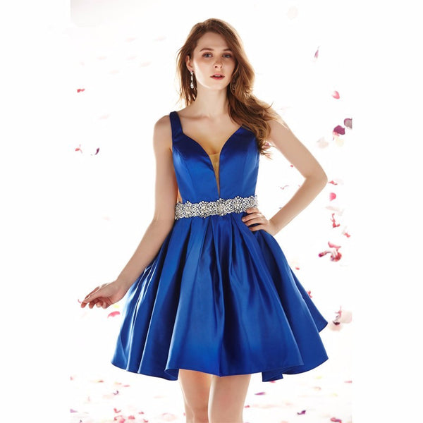 Blue Open Back Sexy Short Homecoming Dresses Prom Dresses