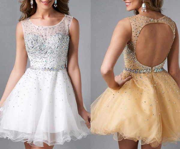 A-Line Homecoming Dresses 2017 Back Custom Beaded Made For Graduation Girls