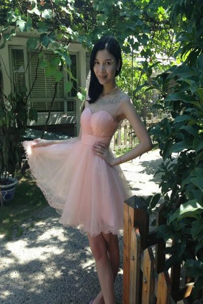 Sweetheart Homecoming Dress, Baby Pink Chiffon Cute Homecoming Dress