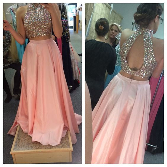 High Neck Prom Dresses,Red A-Line Prom Dress,Evening Dresses