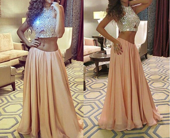 Champagne Prom Dresses,Two Piece Prom Dress,Evening Dresses