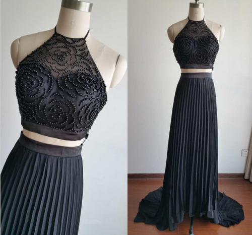 Two Piece Prom Dresses,Black Prom Dress,Evening Dresses