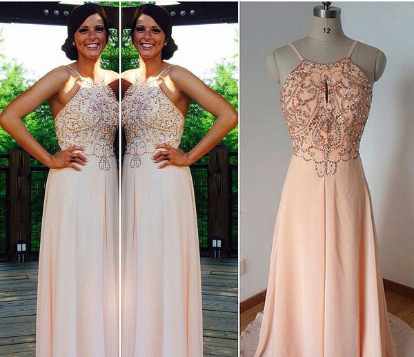 Halter Prom Dresses,Backless Champagne Prom Dress,Evening Dresses