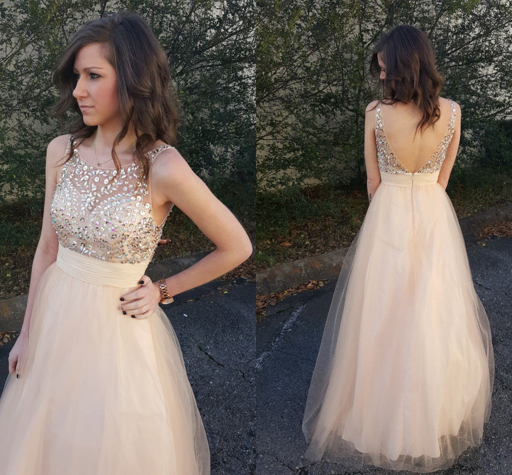 Sleeveless Champagne Prom Dress,A-Line Prom Dresses,Evening Dresses