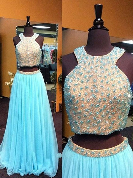 Halter Blue Prom Dress,Two Pieces Prom Dresses,Evening Dresses