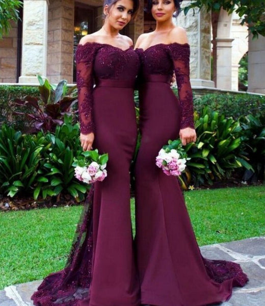 Burgundy Lace Beading Bridesmaid Dress, Sexy Mermaid Bridesmaid Dresses