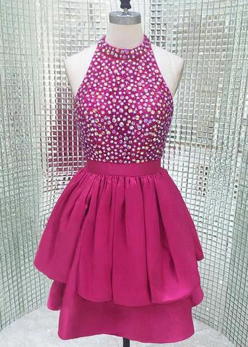 Short Hot Pink Sparkly High Neck Homecoming Dress with Open Back