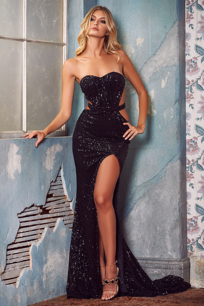 best price complimentary shipping promo codes Black Strapless Glitter Best Prom Dresses Online Slit Sequins Long Evening  Dresses - Size 0