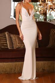 Shesth Deep V Neck Spaghetti Straps Evening Dresses A Low Back Drop Oyster Back Knot Prom Dresses