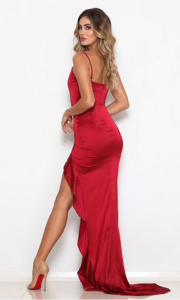 Red Stretch Satin Frill Detail Slits Mermaid Prom Dresses Online Spaghetti Straps Evening Dresses