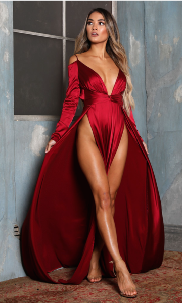 Burgundy Deep V Neck Slits Prom Dresses Long Sleeves Satin Evening Dresses