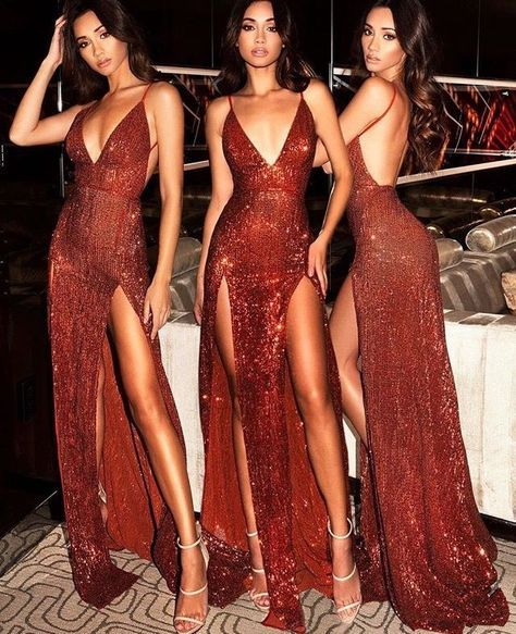 Red Mermaid Sequins Spaghetti Straps Glitter Prom Dresses Backless Two Slits  Evening Dresses