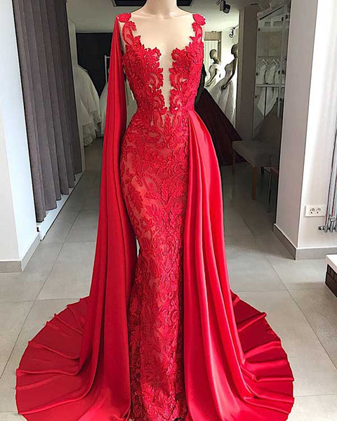 Mermaid Red Lace Prom Dresses Deep V Neckline Beaded Evening Dresses