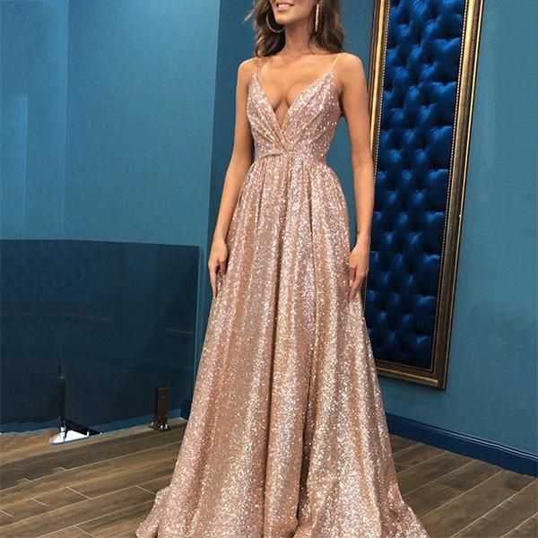 Champagne Spaghetti Straps V Neck Back Prom Dresses Long Glitter Sequins Evening Dresses
