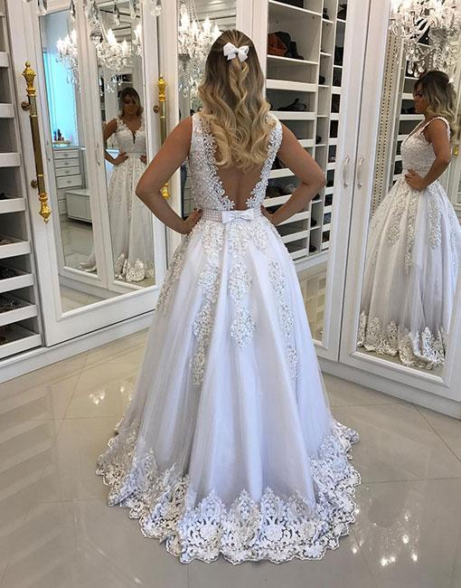White Lace V Neck Knot Prom Dresses Backless Appliques Evening Dresses For Wedding