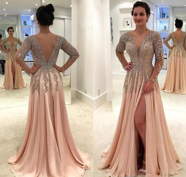 Champagne Deep V Neck Prom Dresses With Slit Long Sleeves Beaded Evening Dresses