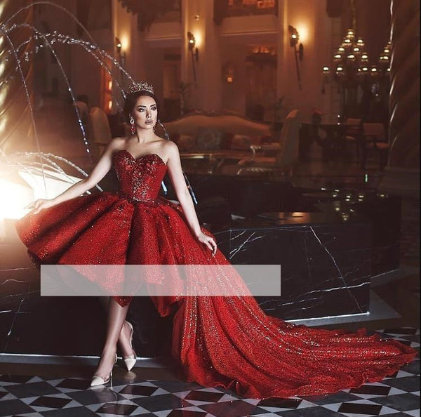 Red Glitter Prom Dresses Strapless Off The Shoulder Tulle Sequins Evening Dresses
