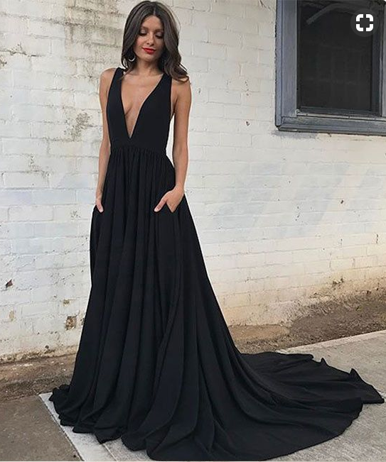Black Deep V Neck Prom Dresses Backless Simple Long Evening Dresses For Women Size 0