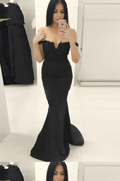 Mermaid Black Off The Shoulder Prom Dresses Floor Length Evening Dresses