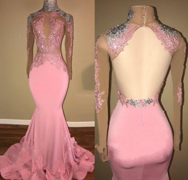 Mermaid Candy Pink Lace Prom Dresses for Women Long Sleeves Open Back Evening Dresses