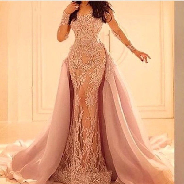 Blush Long Sleeves Lace Applique See Through Prom Dresses Evening Dresses Prom