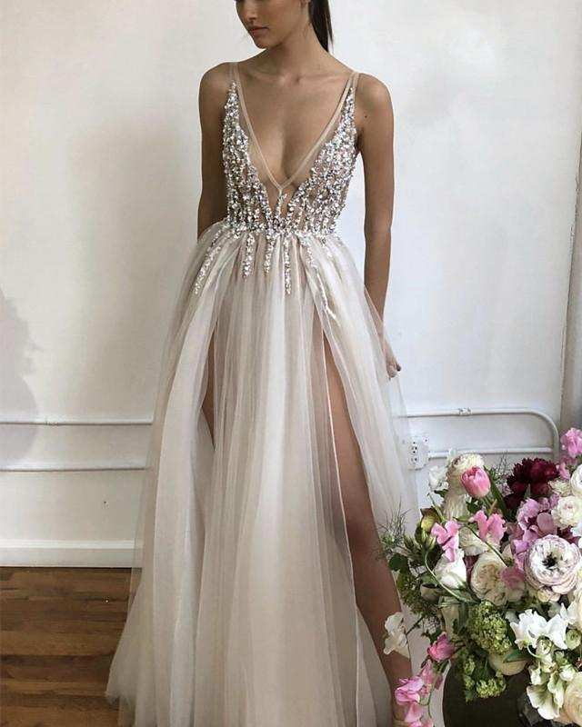 Deep V Neckline Long Spaghetti Straps High Slit Evening Dresses Prom Tulle Prom Dresses 2019