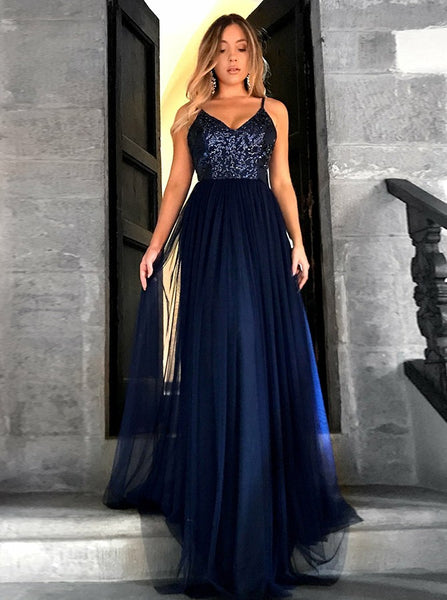 Navy Blue Spaghetti Straps Sequins A Line Prom Dress Tulle Simple Evening Dress