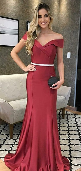 Mermaid Off The Shoulder Dark Red Prom Dresses Long Evening Dresses