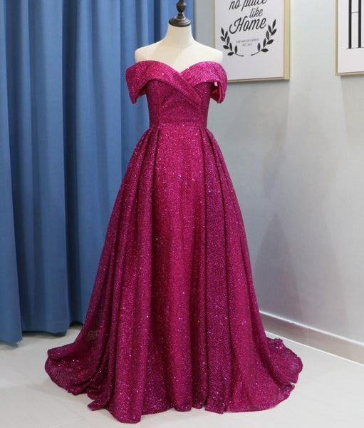 Glitter Long Prom Dresses Off the Shoulder Evening Party Dress