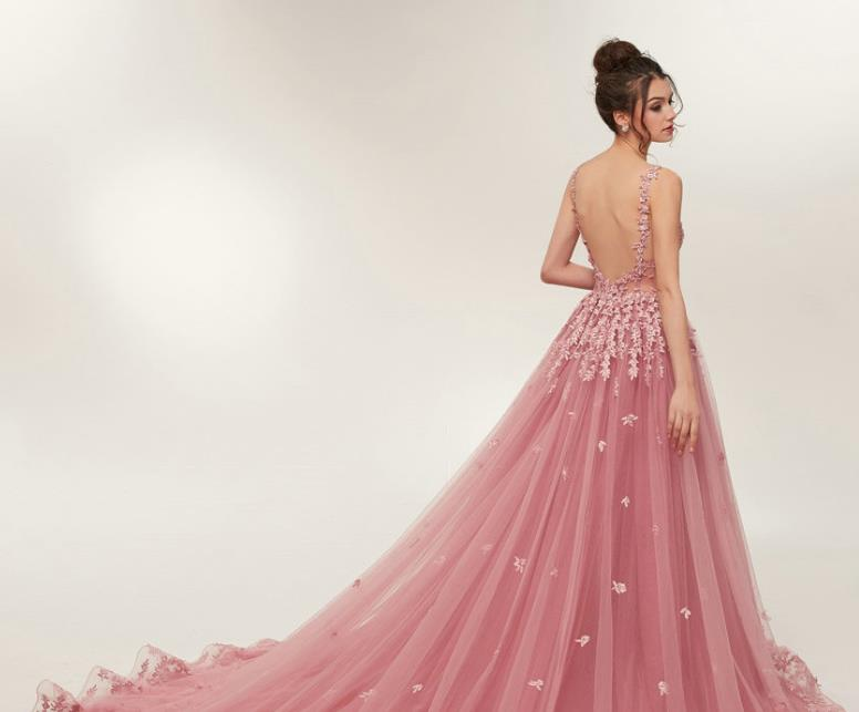 Blush backless long train prom dresses lace appliques a line evening