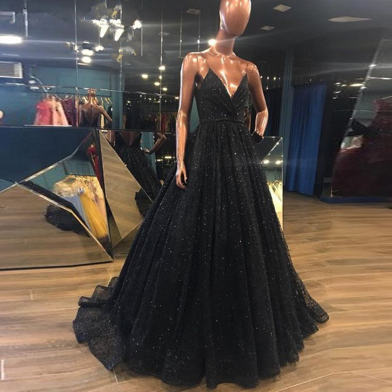 418e5a10d0e9 Black V Neckline Spaghetti Straps Prom Dresses with Slit Elegant Black  Sequined Backless Evening Dress