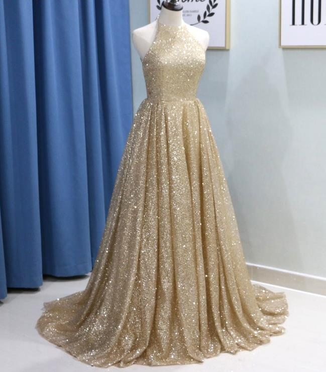 36d29d3d353 Halter Sparkly Gold Evening Dress Champagne Sequin Prom Dresses ...