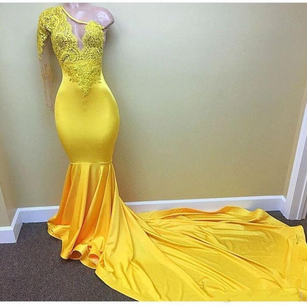 Yellow Mermaid Sheath Long Sleeve Prom Dresses with Lace Beaded One Shoulder Evening Dress