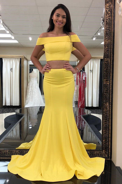 Yellow Satin Two Piece Mermaid Off the Shoulder Prom Dresses Bodycon Evening Dresses Prom