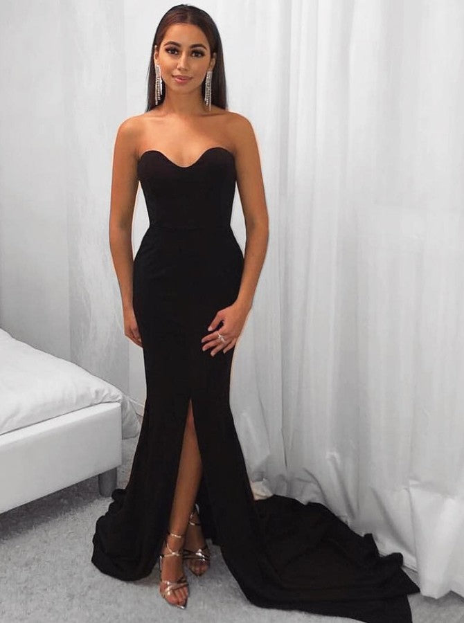 51610c794fb4 Sweetheart Black Mermaid Sweep Train Prom Dresses Simple Evening Dresses  with Slit