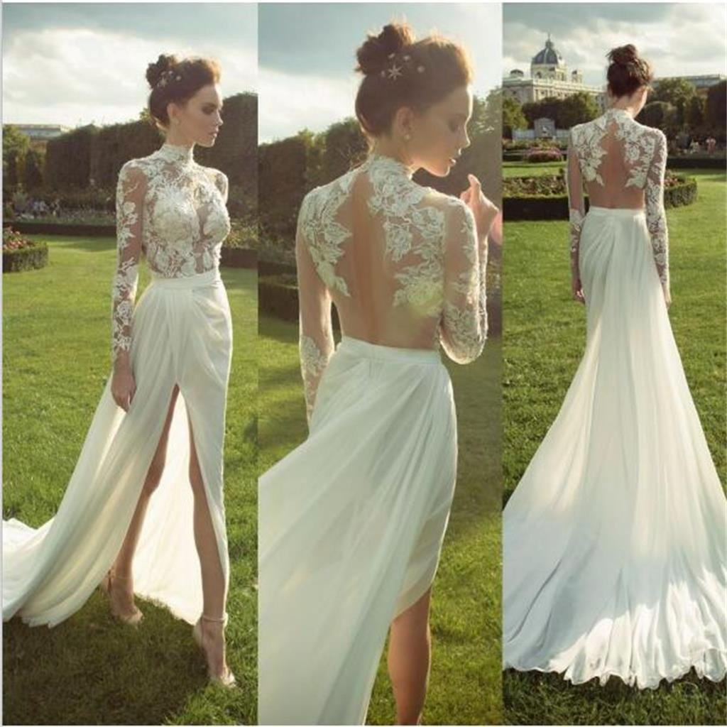 6d34bc8d1fa Cheap White High Neck Lace Side Slit Prom Dresses Long Sleeves Evening  Dresses Wedding